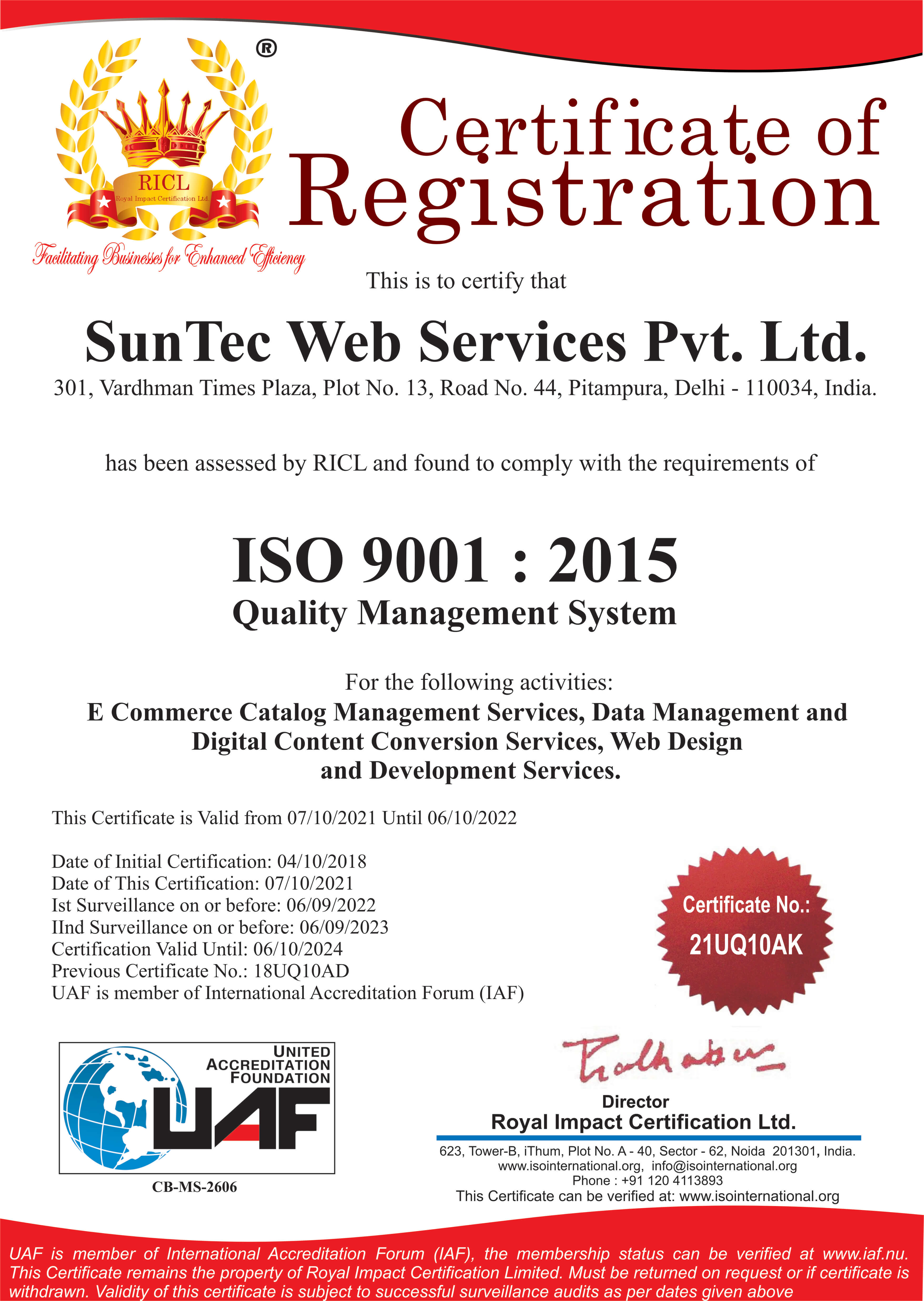 SunTec India is ISO 9001:2015 Certified for Quality Management